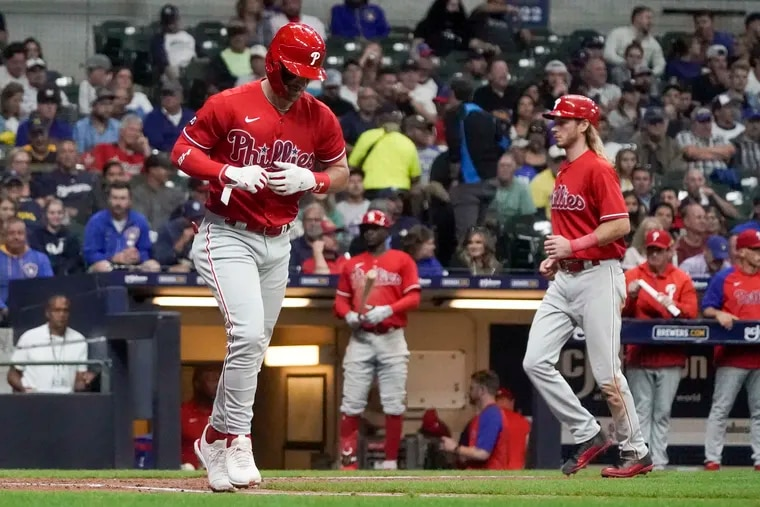 Phillies star Bryce Harper drew three walks Wednesday night after homering in the first inning.