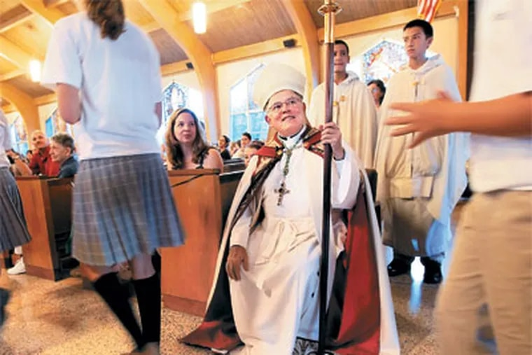 Archbishop Charles J. Chaput at a service Thursday for the new Mater Dei school, a merger of three schools, in Lansdale.