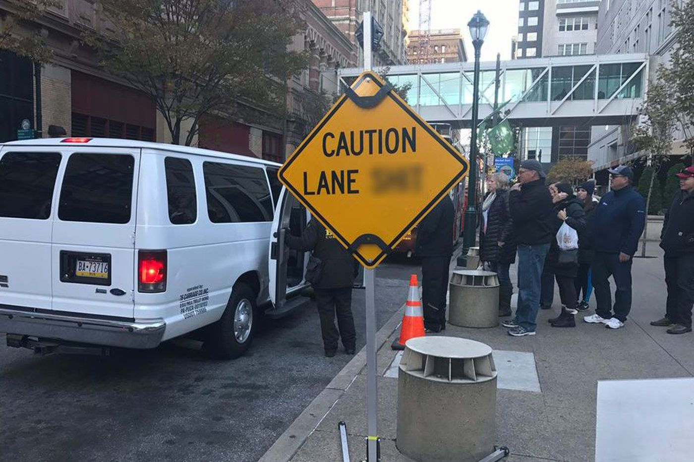 Profane 'lane shift' sign removed from Center City intersection