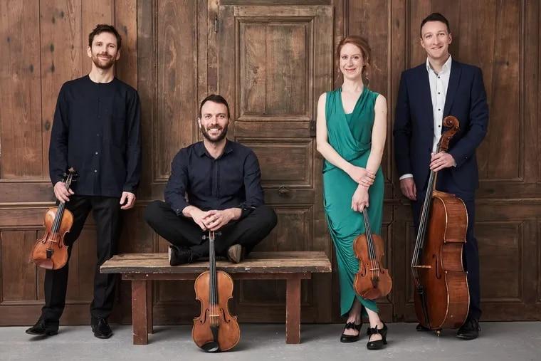 The London-based Heath Quartet (left to right): Oliver Heath, Gary Pomeroy, Sara Wolstenholme, and Chris Murray.