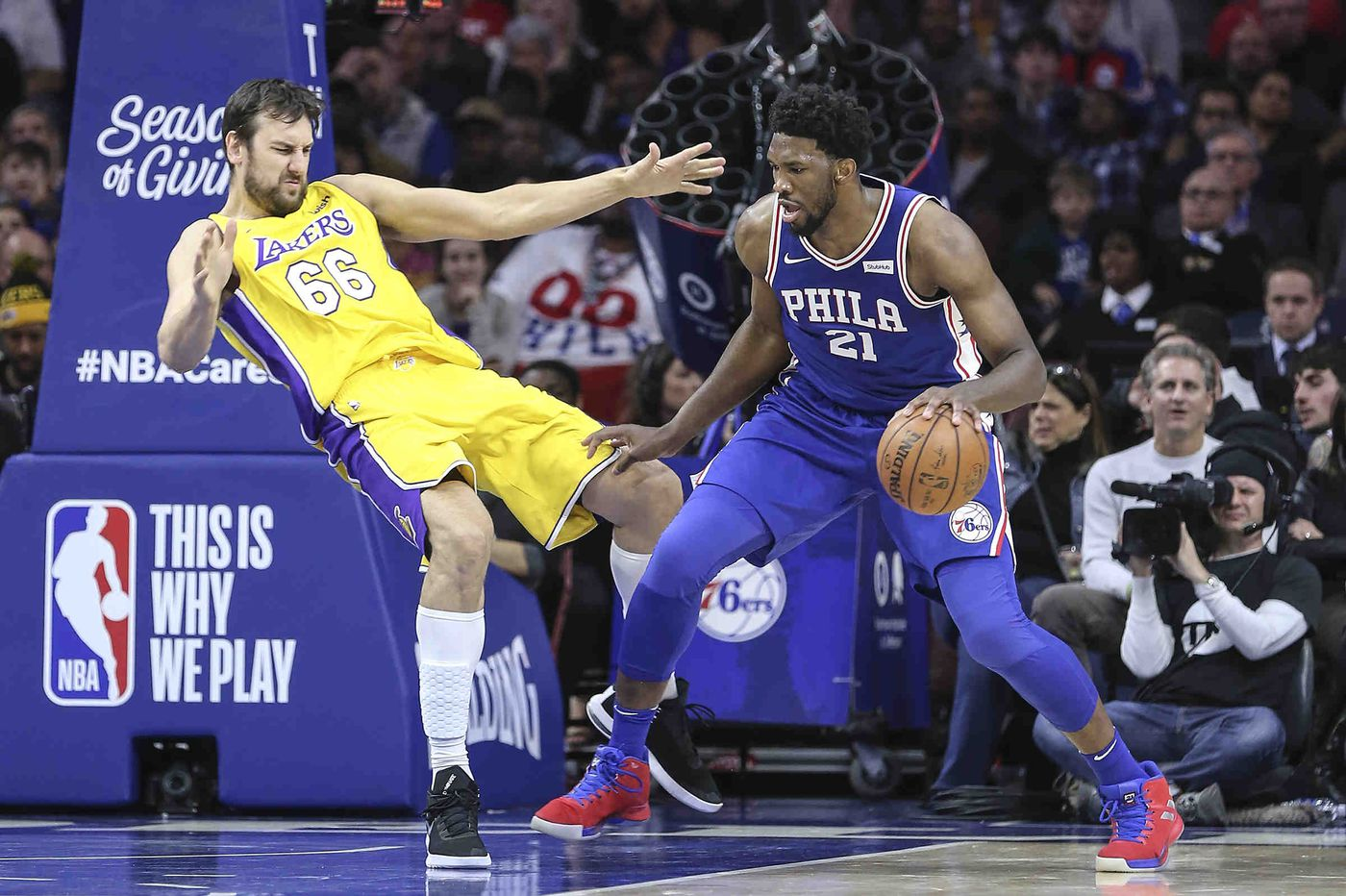 Sixers' Joel Embiid has a knack for dominating the Lakers