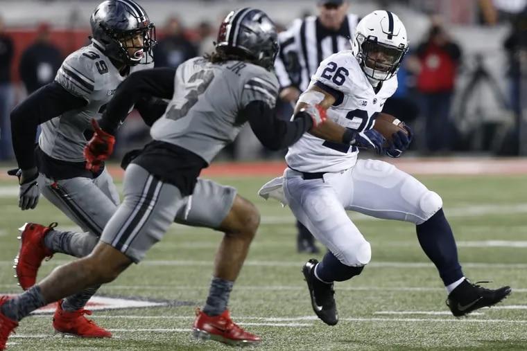 Penn State's Saquon Barkley had little luck running against Ohio State.