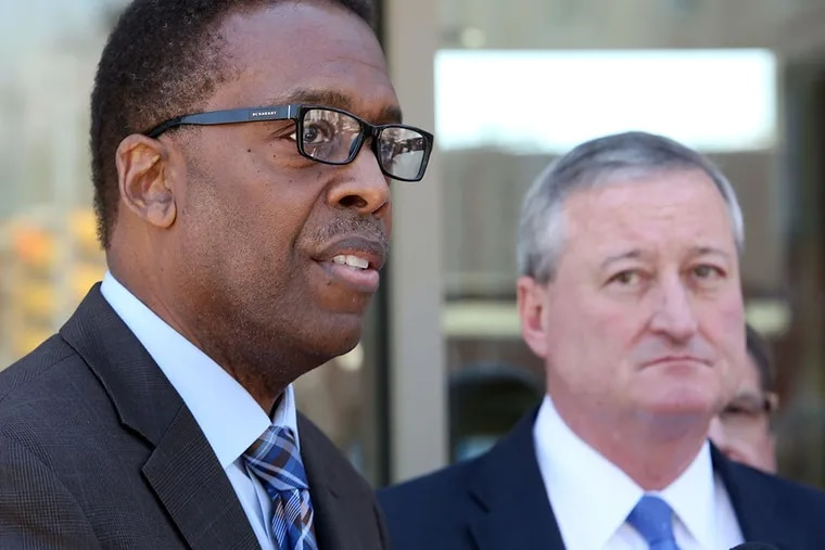 City Council President Darrell L. Clarke (left) with former Council member James F. Kenney. (STEPHANIE AARONSON / Staff Photographer)