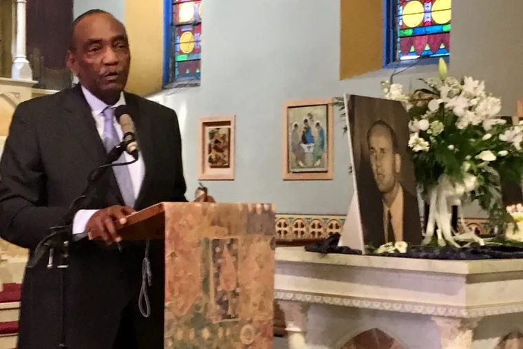 Harvey C. Johnson, first president of the Black People's Unit Movement, speaks at a memorial service Saturday in Camden for the Rev. Sam Appel, a BPUM supporter who also led an interracial, ecumenical, city-suburban coalition in the 1960s and '70s.