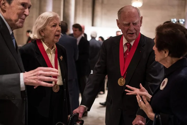 Marguerite and Gerry Lenfest (center, with medals) at the Carnegie Medal for Philanthropy luncheon at the New York Public Library.
