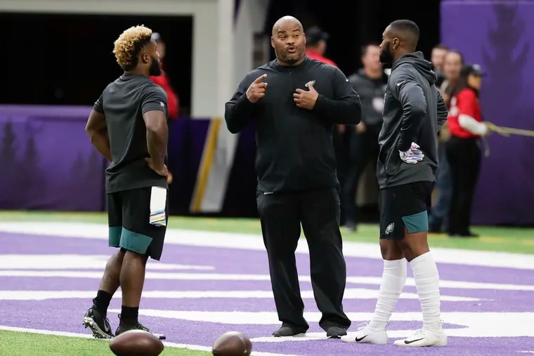 Duce Staley (center) is moving on from Boston Scott (left) and Miles Sanders. Both players have praised Staley extensively.