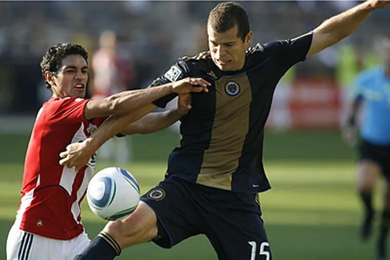 Alejandro Moreno scored just his second goal of the season in the Union's win over Chivas USA. (H. Rumph Jr/AP)