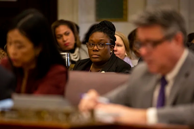 Philadelphia City Councilmember Kendra Brooks attends her first meeting in City Hall on Jan. 23, 2020.