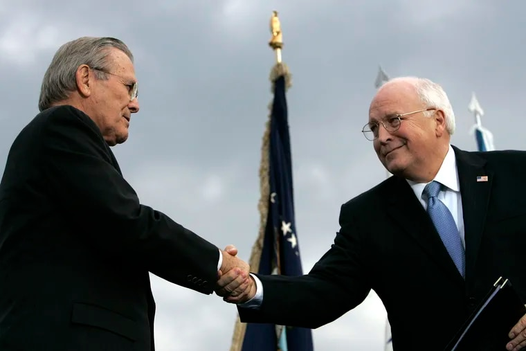 Outgoing Defense Secretary Donald H. Rumsfeld (left) shakes hands with Vice President Dick Cheney during an Armed Forces Full Honor Review for Rumsfeld at the Pentagon on Dec. 15, 2006. All 10 living former secretaries of defense, including Rumsfeld and Cheney, have joined in cautioning against any attempt to use the military in the cause of overturning the November presidential election.