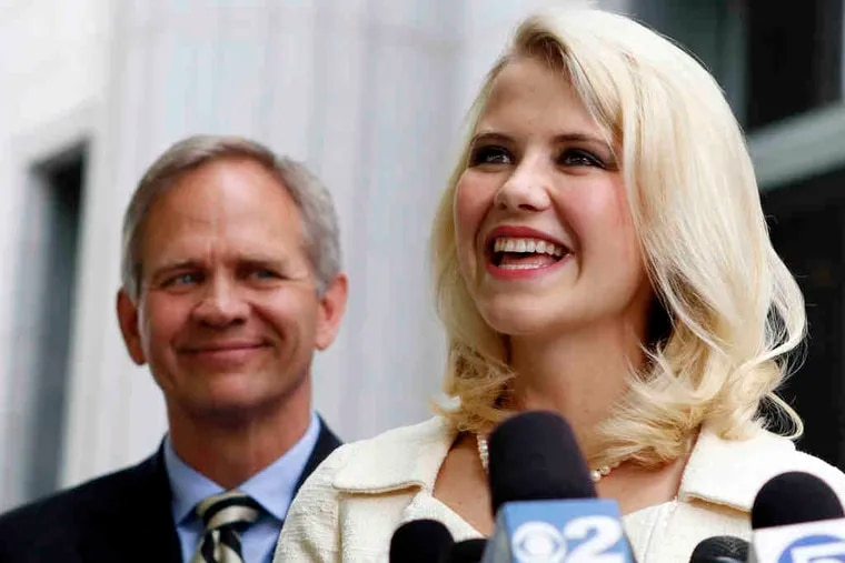 Elizabeth Smart, now 23, and her father, Ed, above, face reporters in Salt Lake City. At left, Brian David Mitchell.