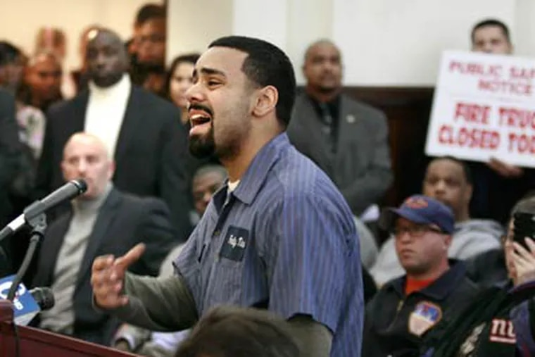 North Camden resident Joshua Lopez speaks passionately about the proposed cuts during Thursday's Camden City council meeting at Camden City Hall. (Elizabeth Robertson / Staff Photographer)