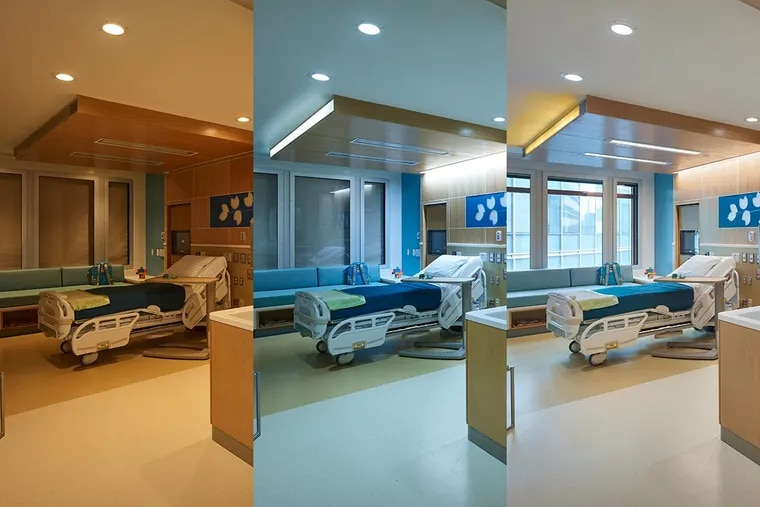 These photos show the lighting a patient room at the Medical Behavioral Unit at Children's Hospital of Philadelphia at 6:30 a.m., 11 a.m. and 3 p.m.