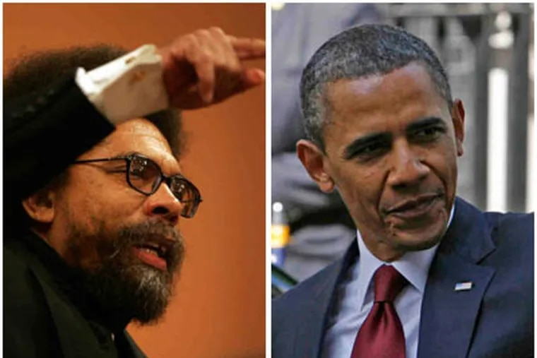 """Cornel West, left, likened Obama, right, to a """"black mascot"""" and """"puppet."""" (David Swanson / Staff Photographer)"""