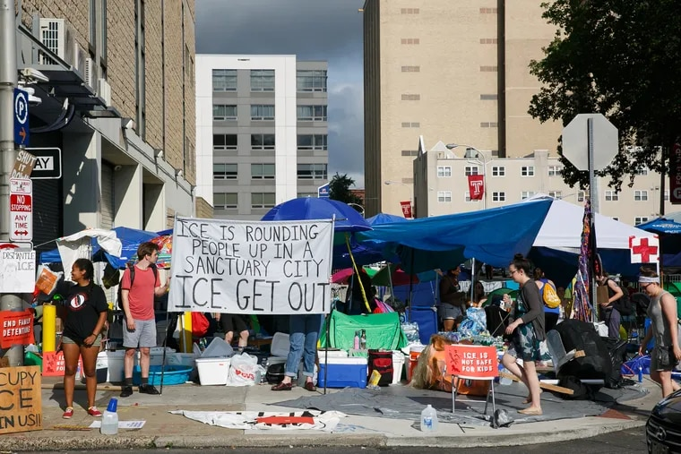 The protestor camp at 8th and Cherry Streets, outside the ICE office, in Philadelphia, July 5, 2018.