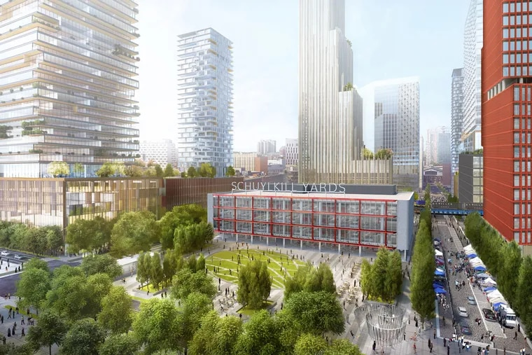 This artist's rendering shows the planned Schuylkill Yards development, with renovated One Drexel Plaza, future home to Spark Therapeutics in foreground. The red tower is comprised of three sections that pivot in response to their surroundings. Both face JFK Boulevard.