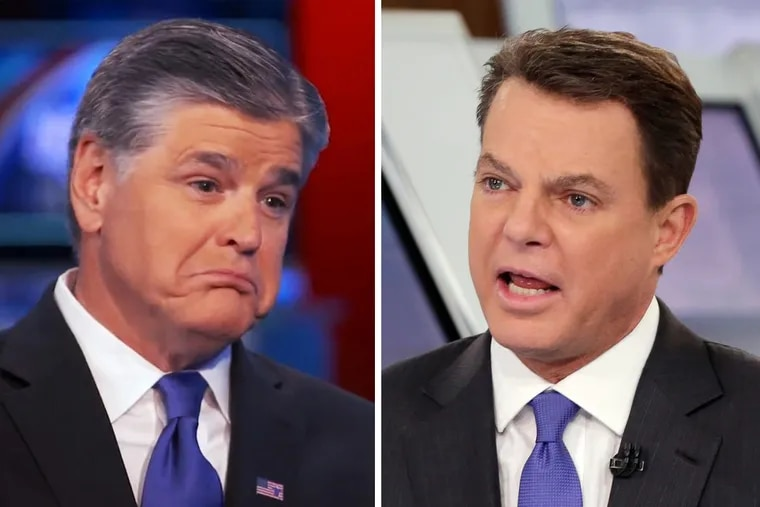 """Fox News host Sean Hannity (left) called out colleague Shepard Smith as """"anti-Trump"""" during his syndicated radio show Monday afternoon."""