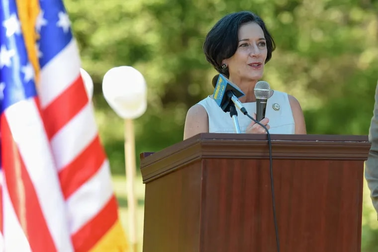 Dr. Val Arkoosh, Chairman of Montgomery County Commissioners, speaks at the Korean War Memorial/America- Korea Alliance Peace Park in North Wales, Pennsylvania on July 19, 2019.