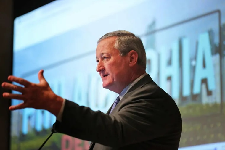 Mayor Kenney speaks at a gathering hosted by the Chamber of Commerce for Greater Philadelphia at the  Barnes Foundation. The mayor thanked the diverse coalition Thursday that made the Philadelphia region's bid for Amazon HQ2.