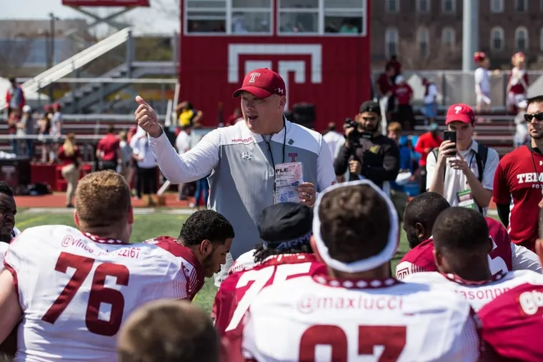 Geoff Collins (shown after his team's spring game in April) and Temple held their annual football camp this past weekend and picked up a handful of commits.
