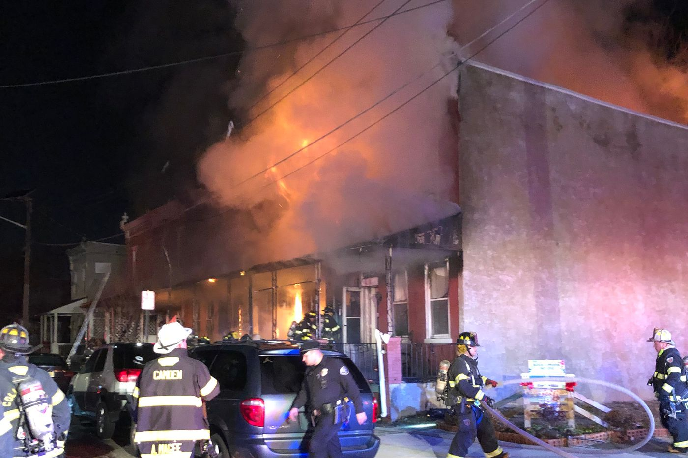 Baby rescued by father in fast-moving Camden fire that damaged six homes