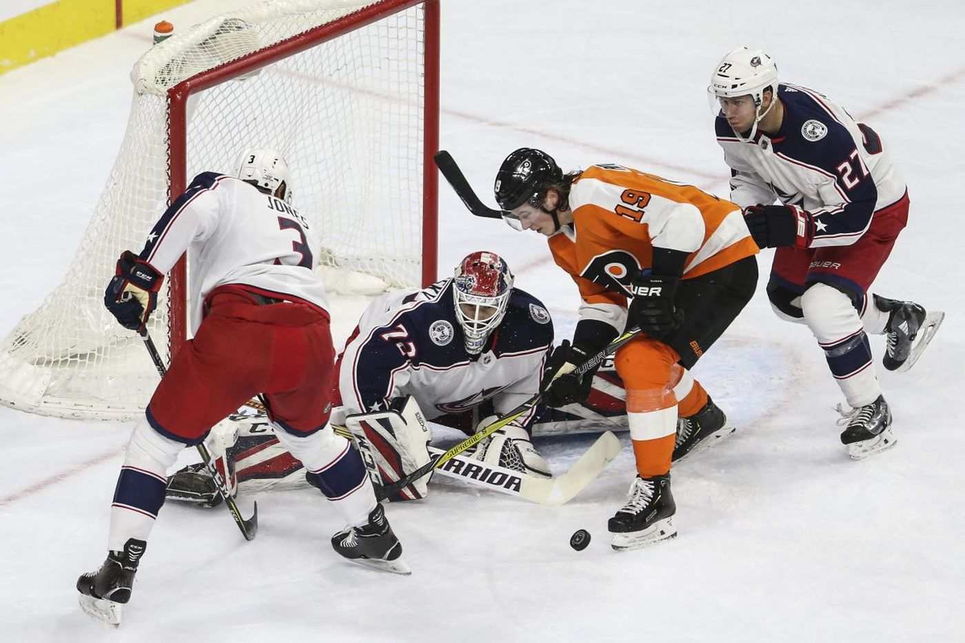 Flyers rally past Blue Jackets on Nolan Patrick's goal; Petr Mrazek superb in debut with new team