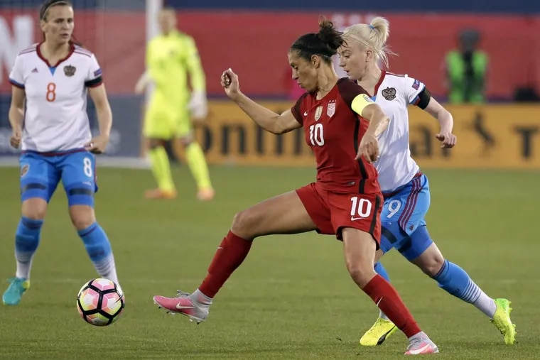 Delran native Carli Lloyd suffered a sprained ankle in mid-August playing for her club team, the National Women's Soccer League' Houston Dash.