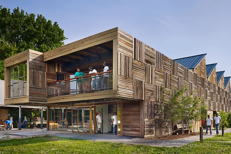 The Challenge Program's Wilmington home was constructed with donated materials by the school's high school dropout trainees. Digsau, the architect, embraced those requirements to design a basic steel-frame workshop inspired by rust-belt factories. TODD MASON