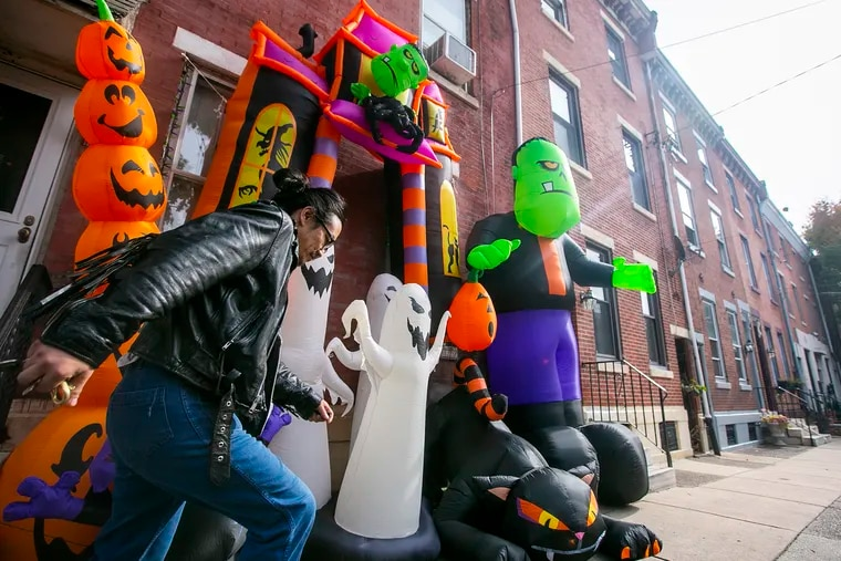 A house in Philadelphia's Fishtown section is decorated for Halloween.