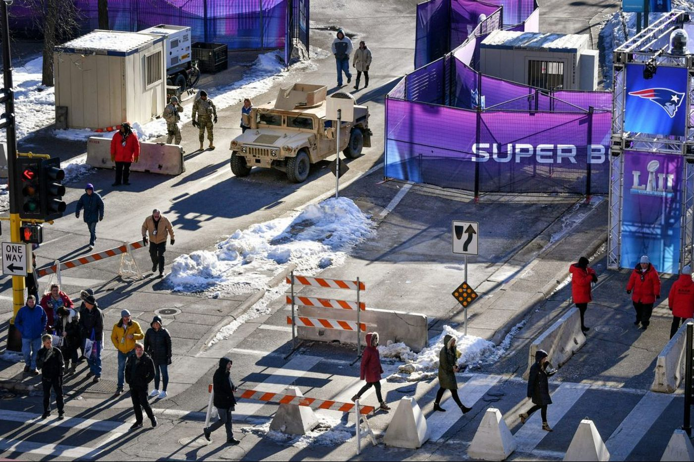 With Super Bowl celebrations in full swing, downtown Minneapolis takes on military feel