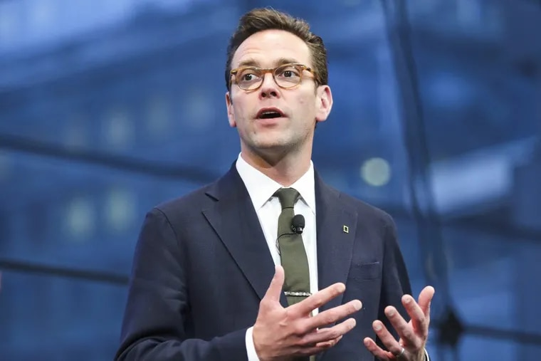 James Murdoch, CEO of 21st Century Fox, speaks  at the National Geographic's Further Front Event at Jazz at Lincoln Center's Frederick P. Rose Hall in New York City.