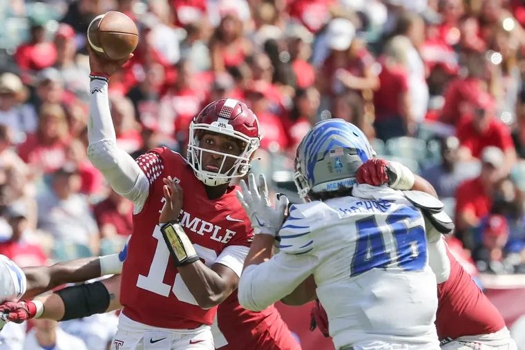 Temple quarterback D'Wan Mathis passed for 322 yards and three touchdowns in a win over Memphis last Saturday.