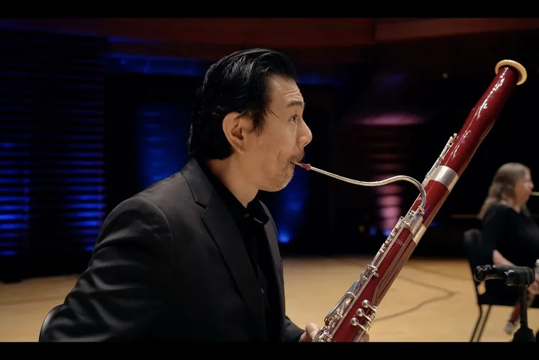 """Philadelphia Orchestra principal bassoonist Daniel Matsukawa with section bassoonist Angela Anderson Smith in Mozart's """"Gran Partita"""" Serenade, recorded in Verizon Hall for the orchestra's Digital Stage series."""