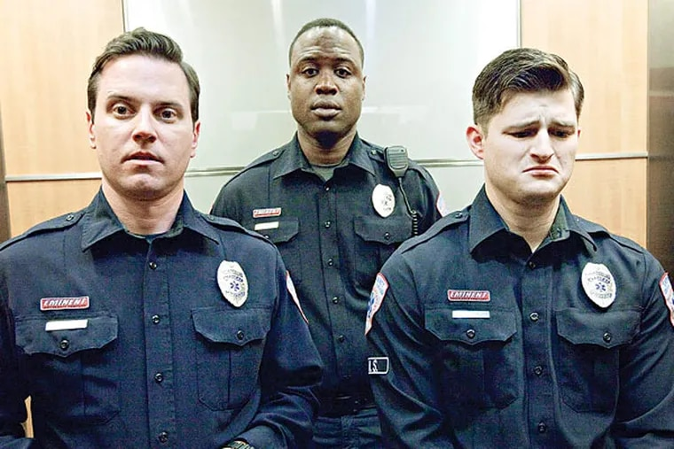 """The main cast of """"Sirens"""" (from left): Michael Mosley, Kevin Daniels and Kevin Bigley."""