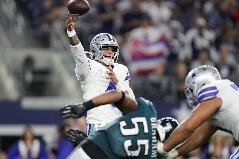 Cowboys quarterback Dak Prescott passing against the Eagles on Oct. 20.