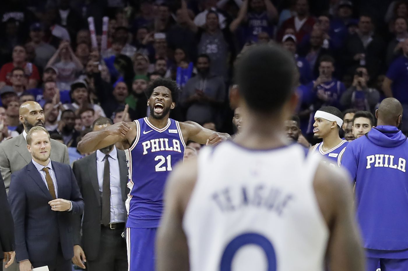 Joel Embiid shows his fight (and not just in that brawl with Karl-Anthony Towns)