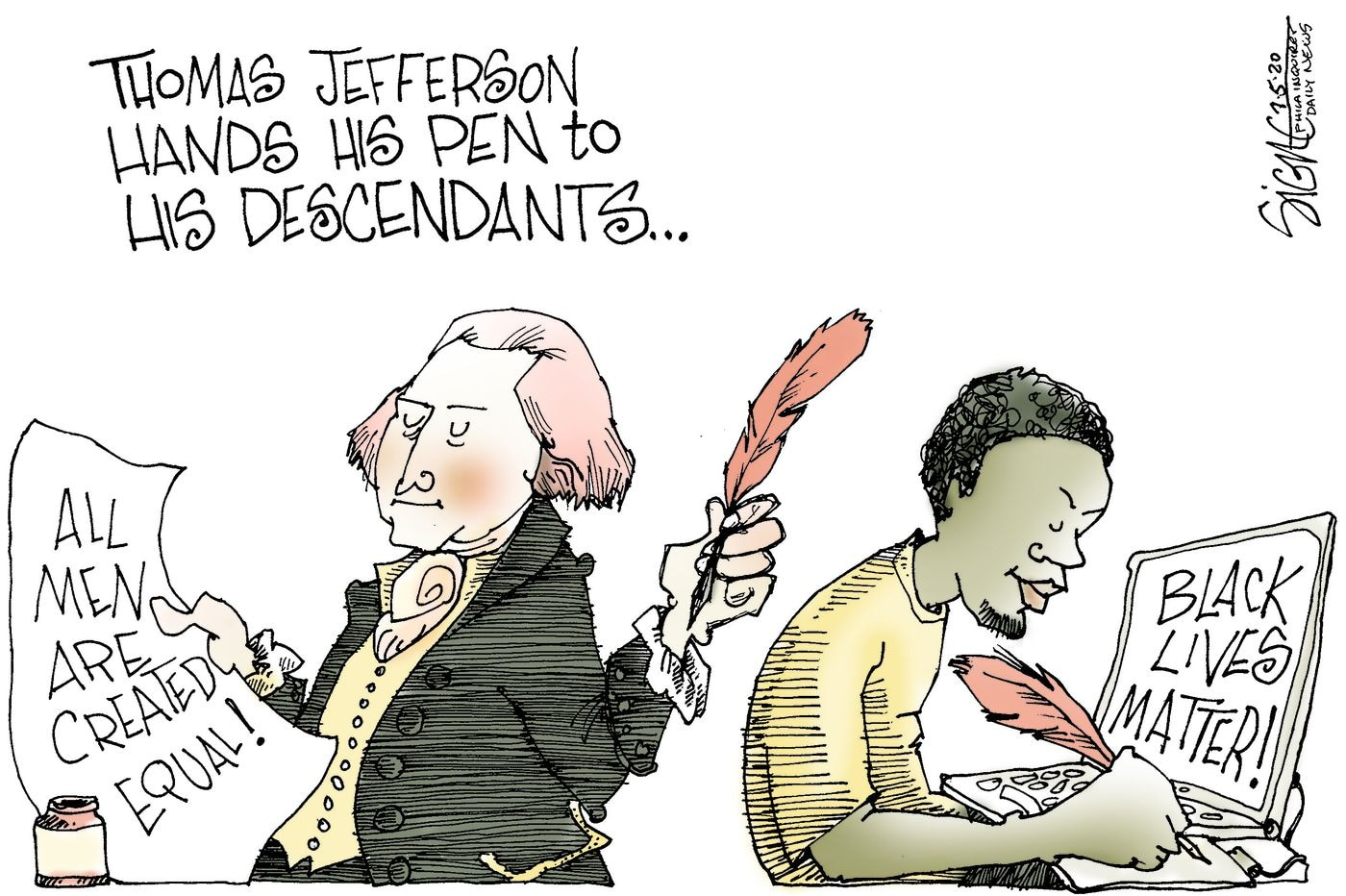 Political Cartoon: Thomas Jefferson passes his quill to Black Lives Matter