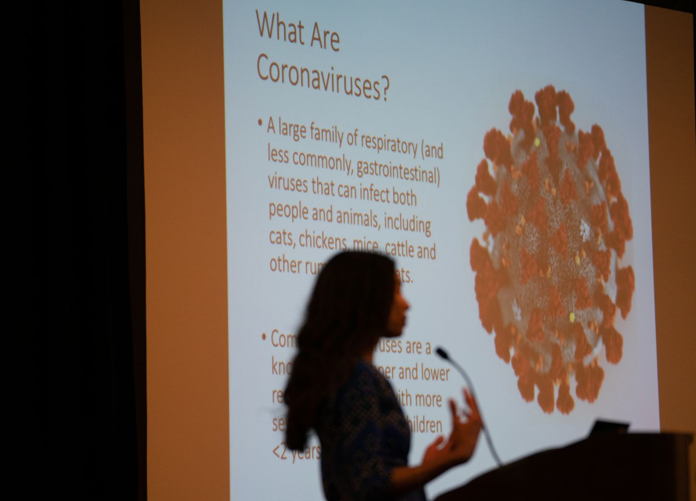 Dr. Kristen Feemster, MD, MPH, Medical Director, Acute Communicable Diseases Program, Division of Disease Control, PDPH, speaks at a health department forum on coronavirus response, in Philadelphia, March 11, 2020.