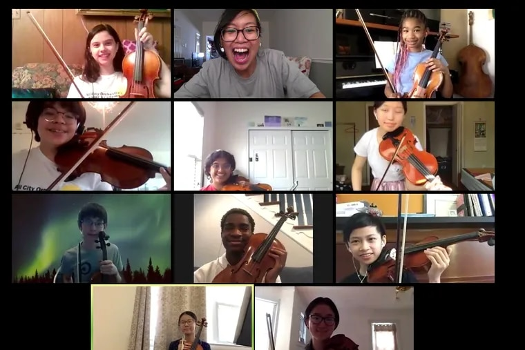 In rehearsal via Zoom at the All City Orchestra Summer Academy (all left to right) are: In top row, Sonya Dobi, Ms. Aileen Rimando-Jackson (music teacher for the Philadelphia School District), and Chrysyn Harp. In second row: Cyrano Rosentrater, Emily Samuel, and Mandy Jiang. In third row: Kai Freeman, Ryan Williams, and Aiden Chau. In bottom row: Chuek Ying Xu and Angela Zhu.