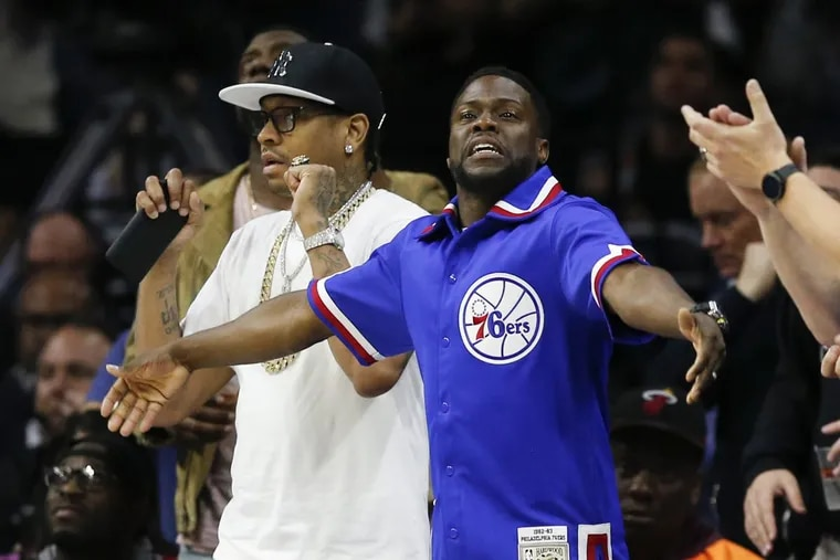 Allen Iverson with Kevin Hart courtside at a Sixers playoff game last April.