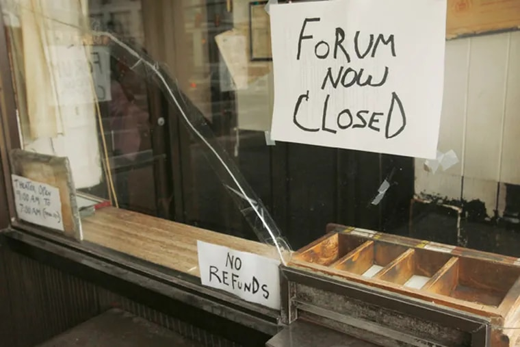 The Forum Theater on Market Street near 22nd Street is now closed.  ( MICHAEL S. WIRTZ / STAFF PHOTOGRAPHER )