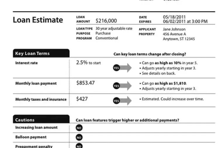 Example pages from prototype forms. Philadelphia borrowers can offer their feedback about the forms at www.consumerfinance.gov/KnowBeforeYouOwe.