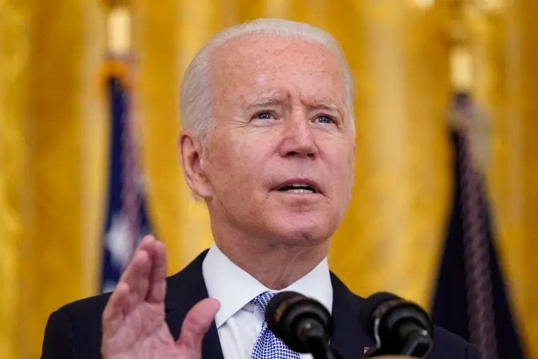 President Joe Biden speaks about COVID-19 vaccine requirements for federal workers in the East Room of the White House.