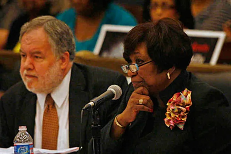 Superintendent Arlene Ackerman, with district CFO Michael Masch, asked Council on Tuesday for up to $110 million to help fill budget gap. She also asked to transfer $11 million in school bills to the city.