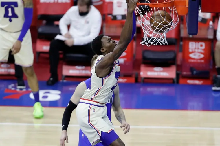 Sixers forward Paul Reed, seen here during the regular season against Orlando, has put up good numbers in Las Vegas while learning how to play away from the basket.