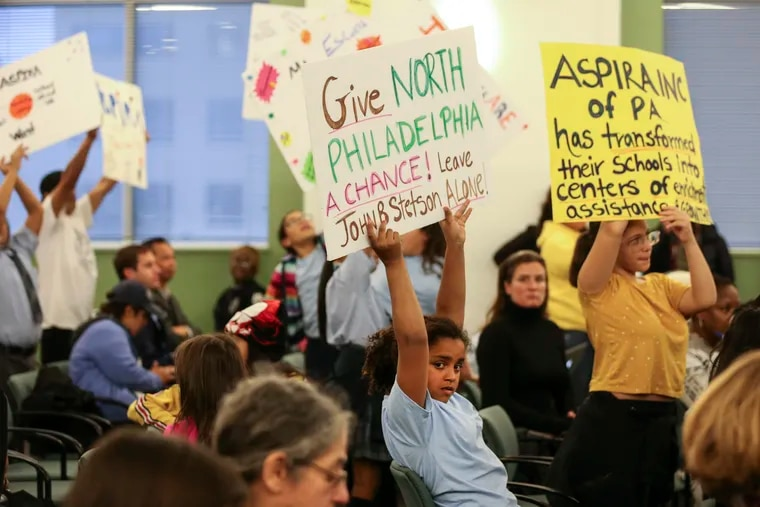 Students protest the Philadelphia school board meeting  on Thursday, October 17, 2019, where the board voted not to renew two charter schools Stetson and Olney charter that are run by the powerful nonprofit ASPIRA.