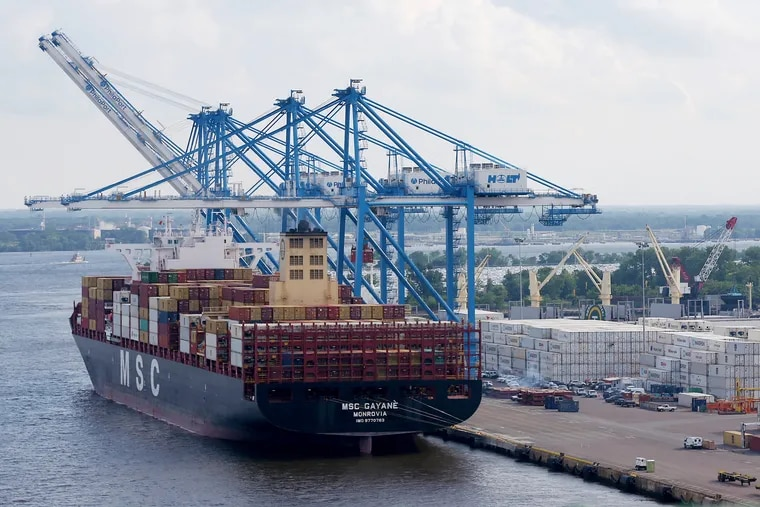 Federal authorities search the MSC Gayane at the Packer Avenue Marine Terminal in South Philadelphia on June 18, 2019. Officials announced Monday they have seized the ship, where they discovered nearly 20 tons of cocaine last month, and are considering seeking the vessel's forfeiture in court.