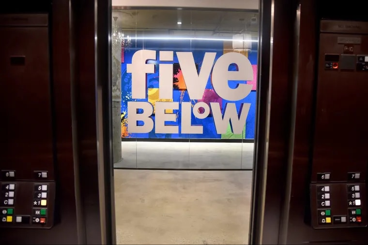 Seen from the elevator, new signage in the new corporate headquarters of Philadelphia-based Five Below, in the former Lit Brothers building. Five Below will take up nearly a third of the 700,000 square foot building, including the retail store that opened a few months ago.