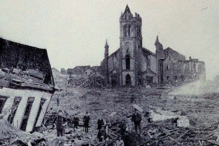 The aftermath of the 1900 Galveston hurricane, the deadliest on record.