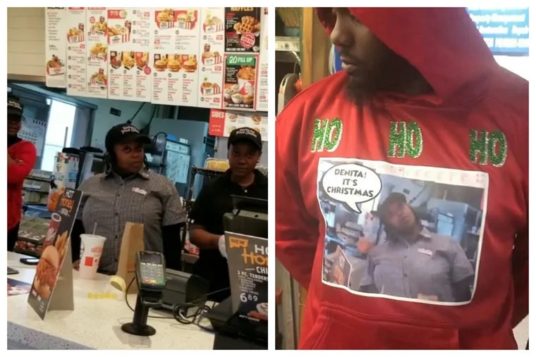 Left: A screenshot of Bobbie Holiday's viral video. Right: One of the holiday hoodies that the video inspired.