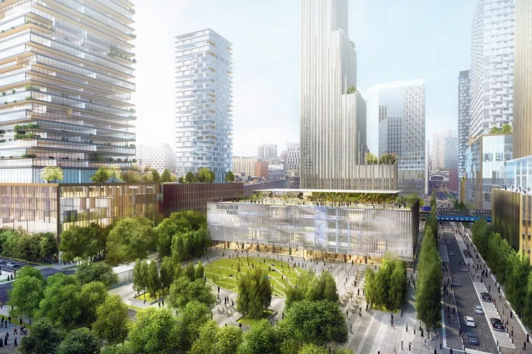 Artist's rendering of the future view from 30th Street looking at the planned Drexel Square parks.